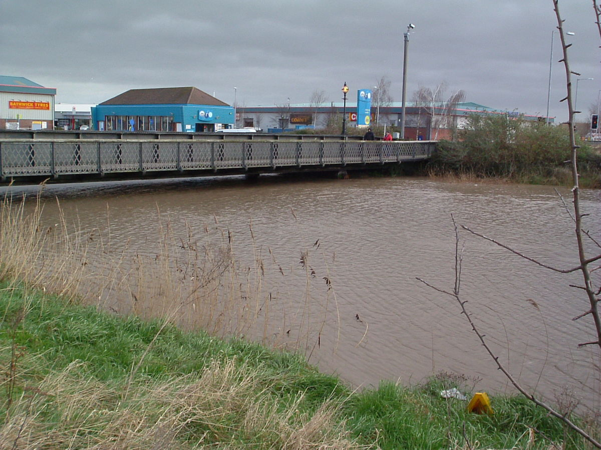 The Black Bridge, now a Footway, at one of the highest tides