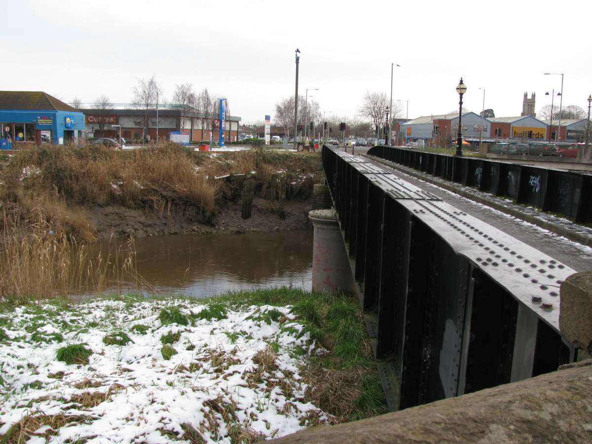 Side of bridge showing sections and...