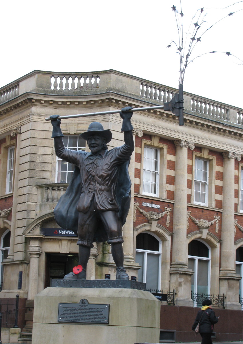 The 'Spirit of Carnival' statue, erected in 2005 in Bridgwater town centre
