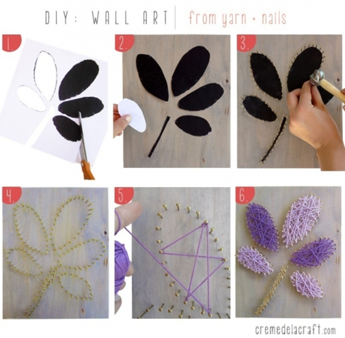 Directions for yarn art project - 1. Cut out pattern. 2. Put a piece of double-stick tape on the back of each pattern piece. 3. Position the pattern on the substrate of your choice. 4. Use hammer to nail in small nails, following the pattern. 5. Remo