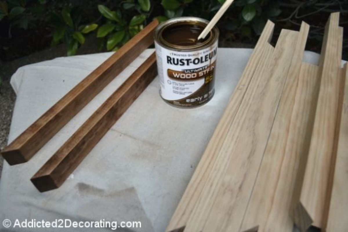 Step 9: Use a rag to apply a coat of wood stain to the frame and trim pieces.  Allow the stain to dry, then apply two or three thin coats of satin-finish polyurethane, allowing each coat to dry the recommended time between coats.