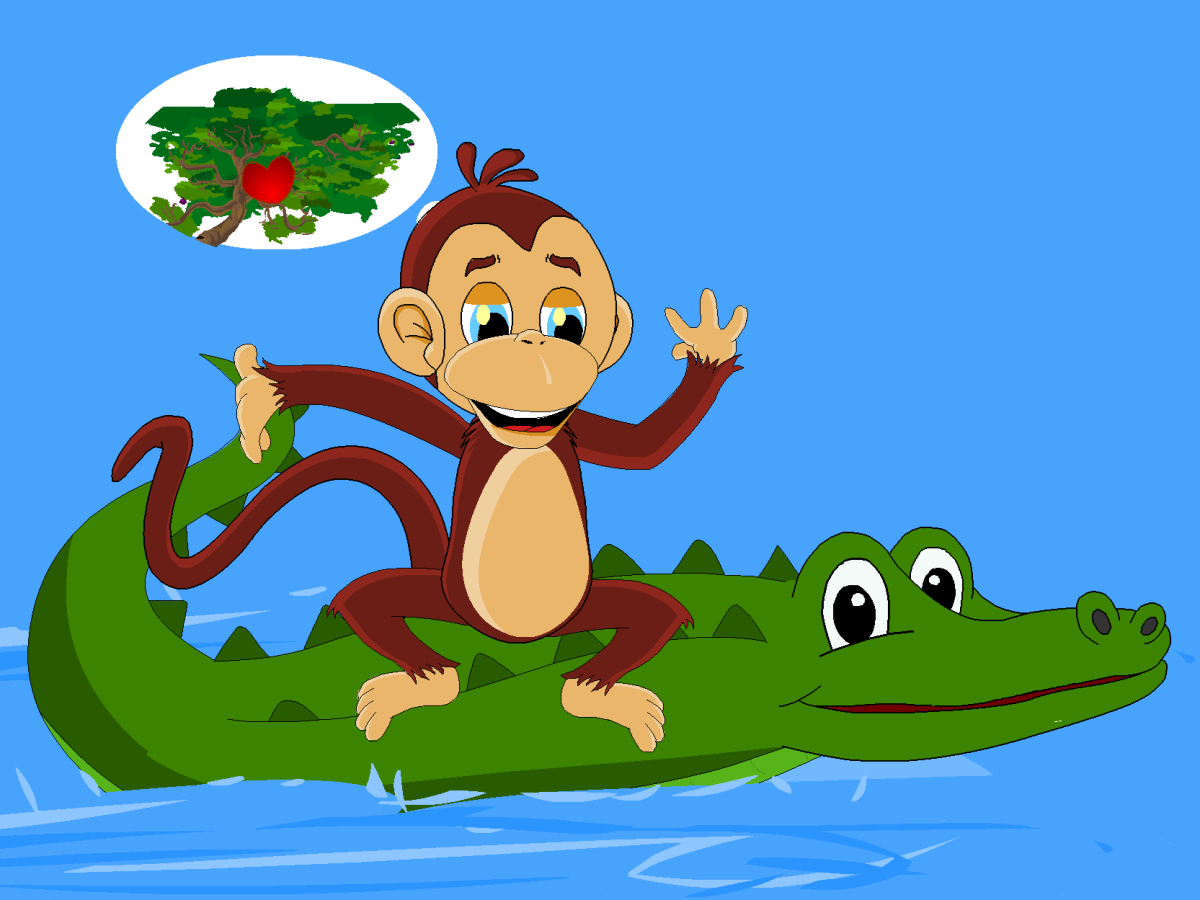 The clever monkey thinks of a plan to outwit the foolish crocodile