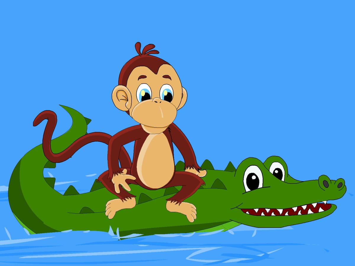 The monkey rides on the crocodile's back