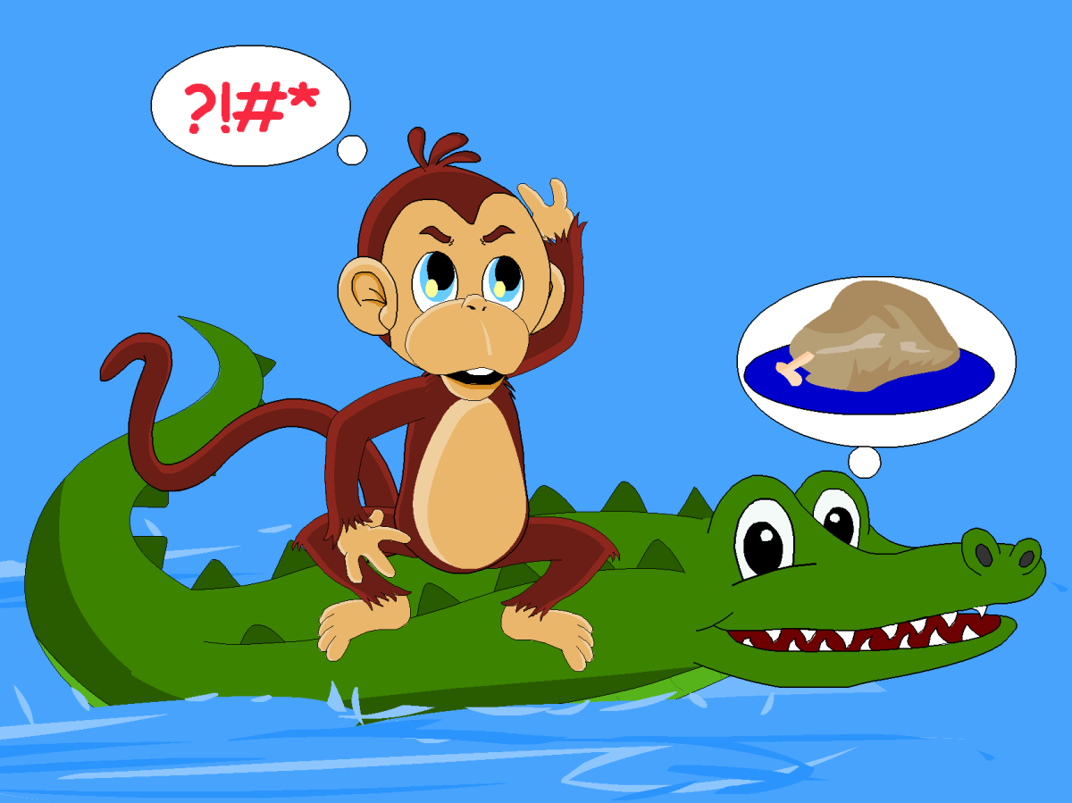The crocodile reveals his evil plan to the monkey