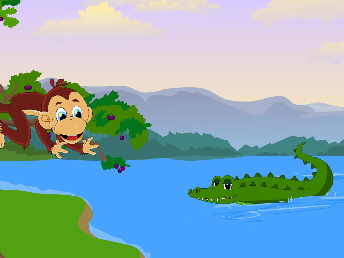 The monkey berates the crocodile