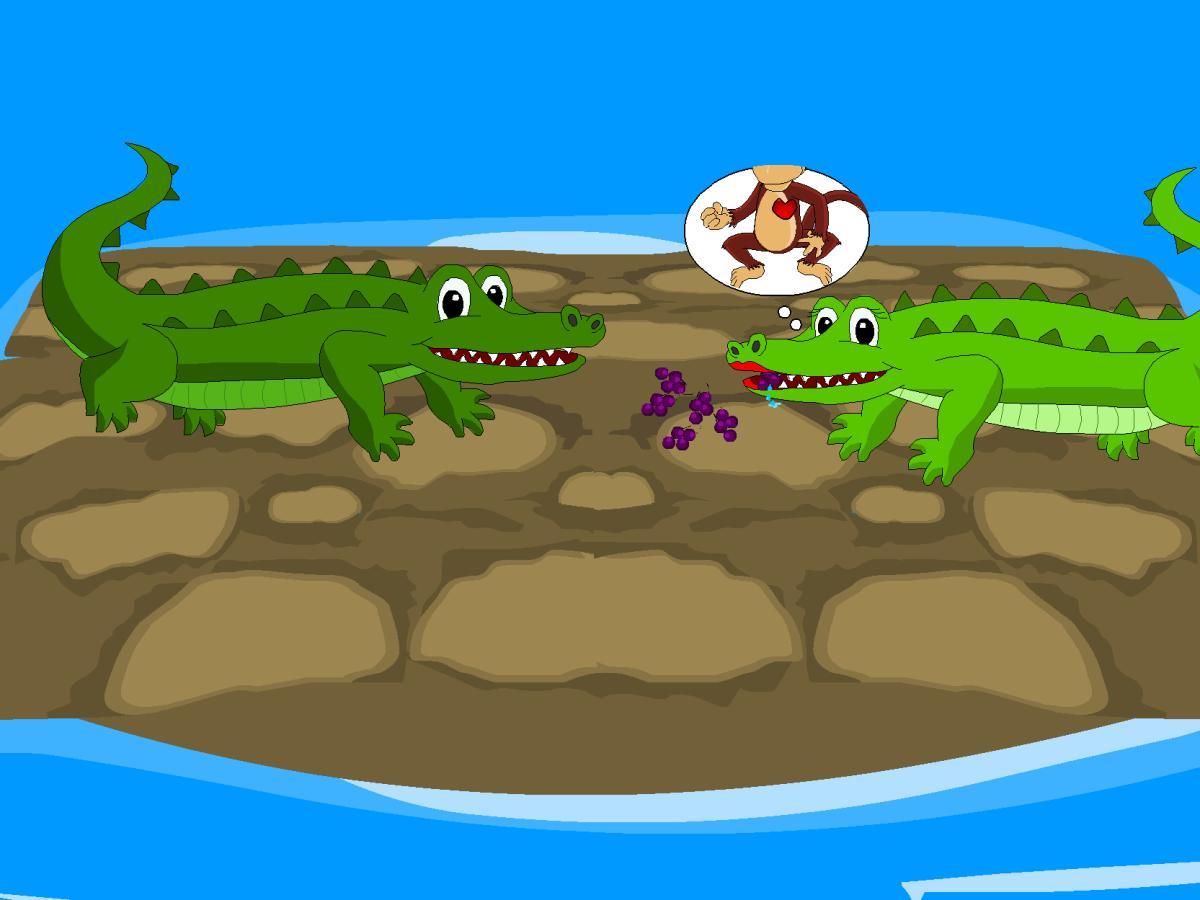 The crocodile's greedy wife wants the monkey's heart