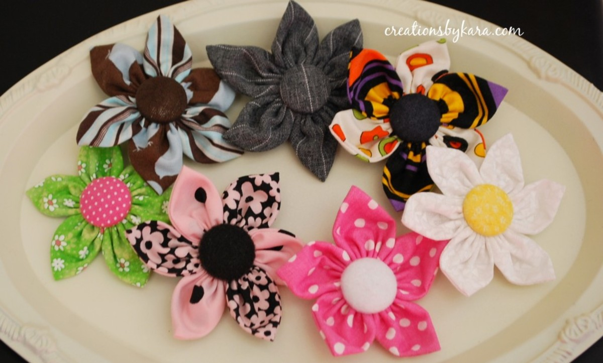 Fabric Hair Clips or Brooches - DIY