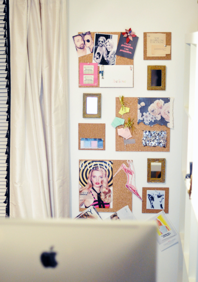 Try cutting cork board into different sizes to create an artsy mood board wall.