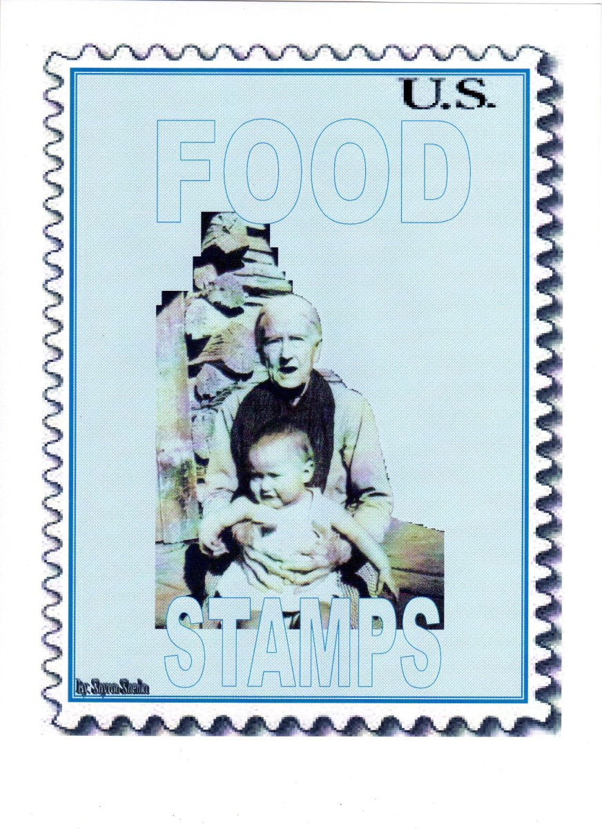 The G.O.P./Tea Party believe that people on Food Stamps are Lazy and Slothful! The picture on the stamp is my Great Grandmother and the baby is my cousin.