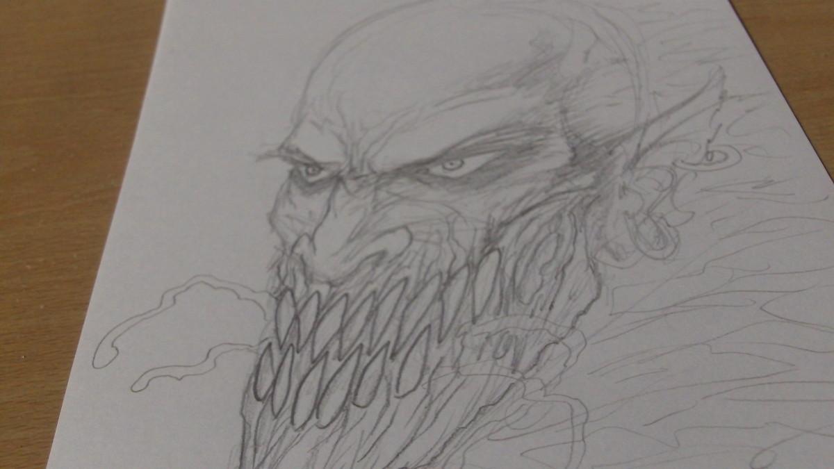 A Human Demon hybrid mask design for Halloween.