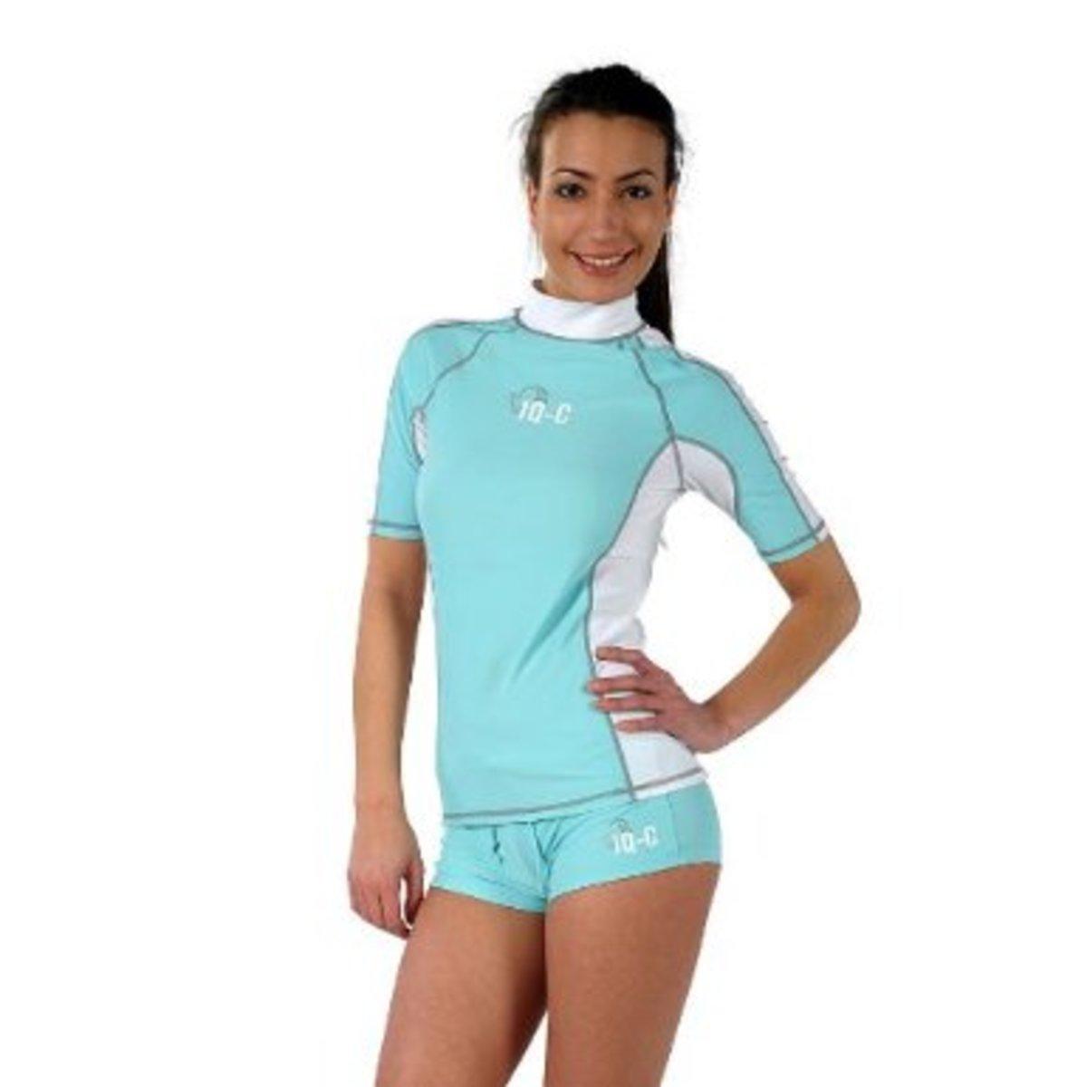 Matching Blue and White Swim Shorts and Rash Guard Shirt - Classic Swim Short