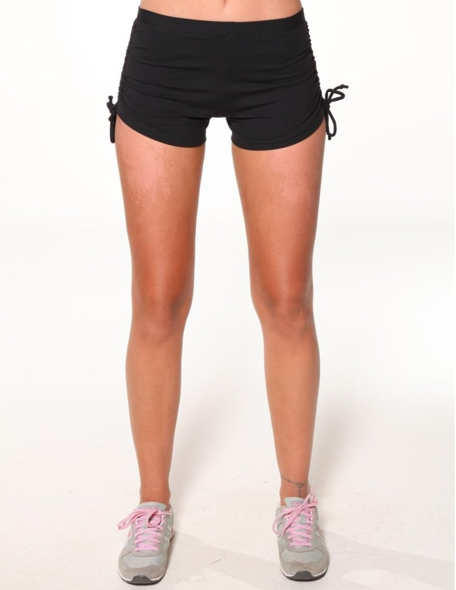 Black Swim Shorts with Draw Ties at the Thigh