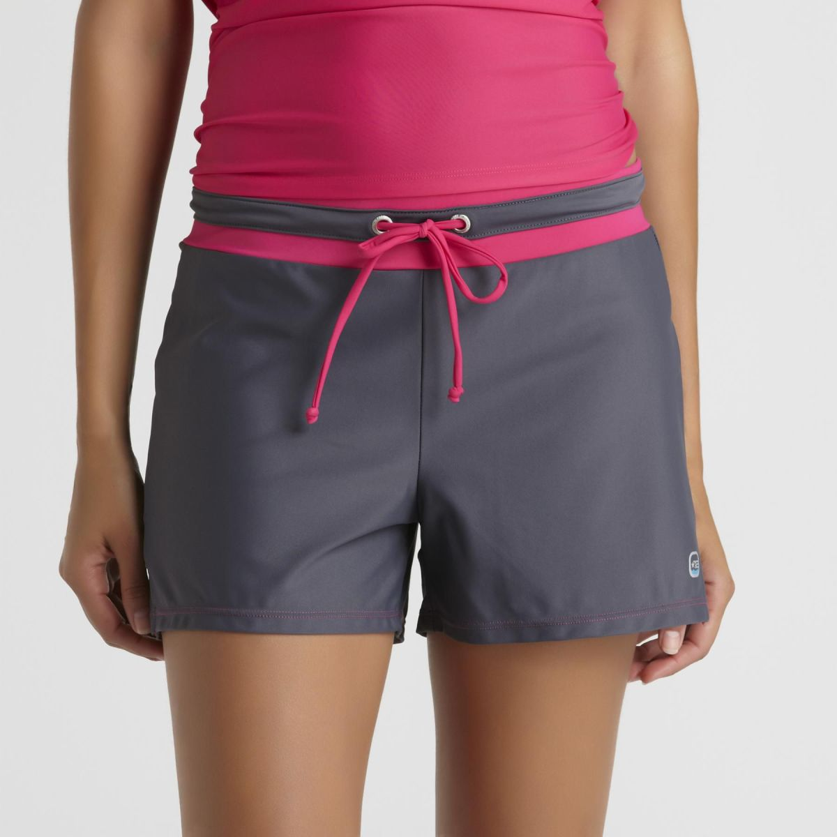 Draw String at the Waist Swim Short - Grey and Bright Pink Swim Short for Women