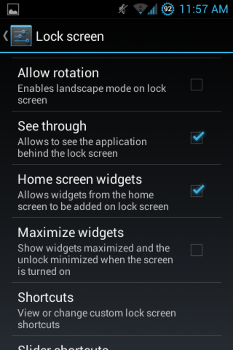 Lockscreen options in PAC. You can see which app runs in the background when you phone is locked.