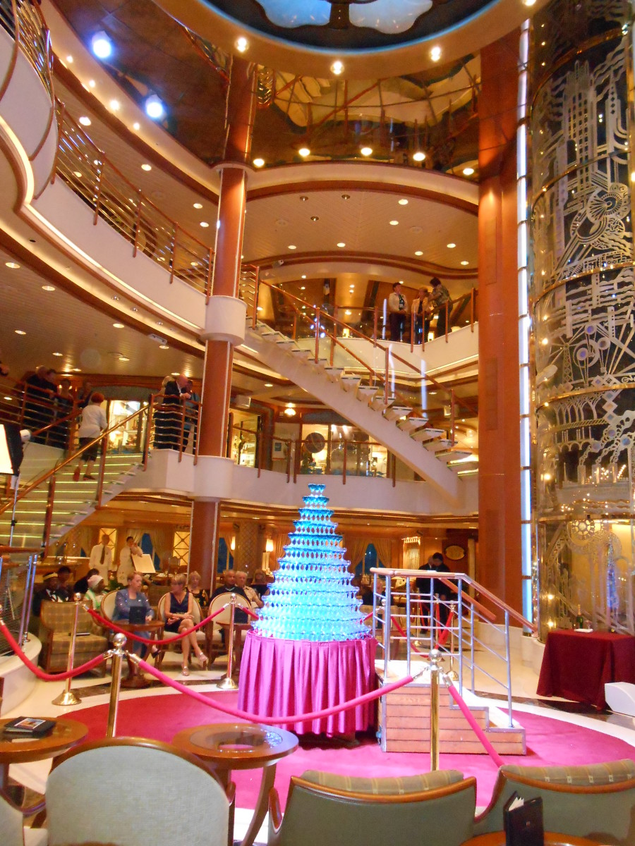 Getting ready for the Champagne Waterfall celebration taking place in the beautiful 3 storied atrium.