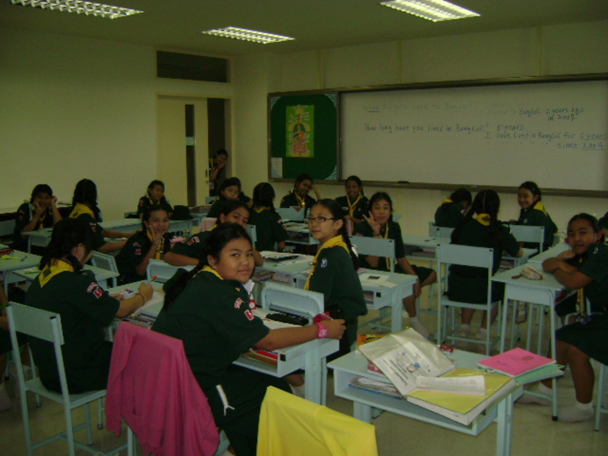 My sixth grade students at Saint Joseph Bangna School in Thailand.  Picture taken in 2009.