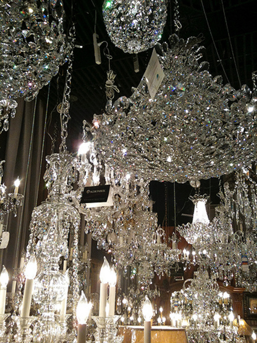 A crystal chandelier is the ultimate in elegance but might be a little over-the-top.
