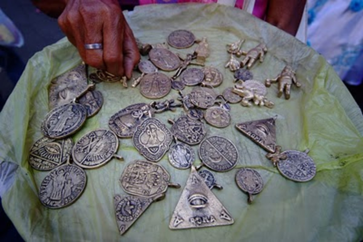 Anting-anting such these can be seen for sale on Philippine's near church entrances or sidewalks.