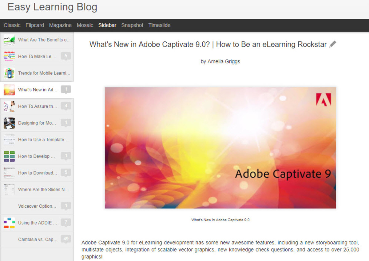 Easy Learning Blog What's New in Captivate 9.0 How to Be An eLearning Rockstar