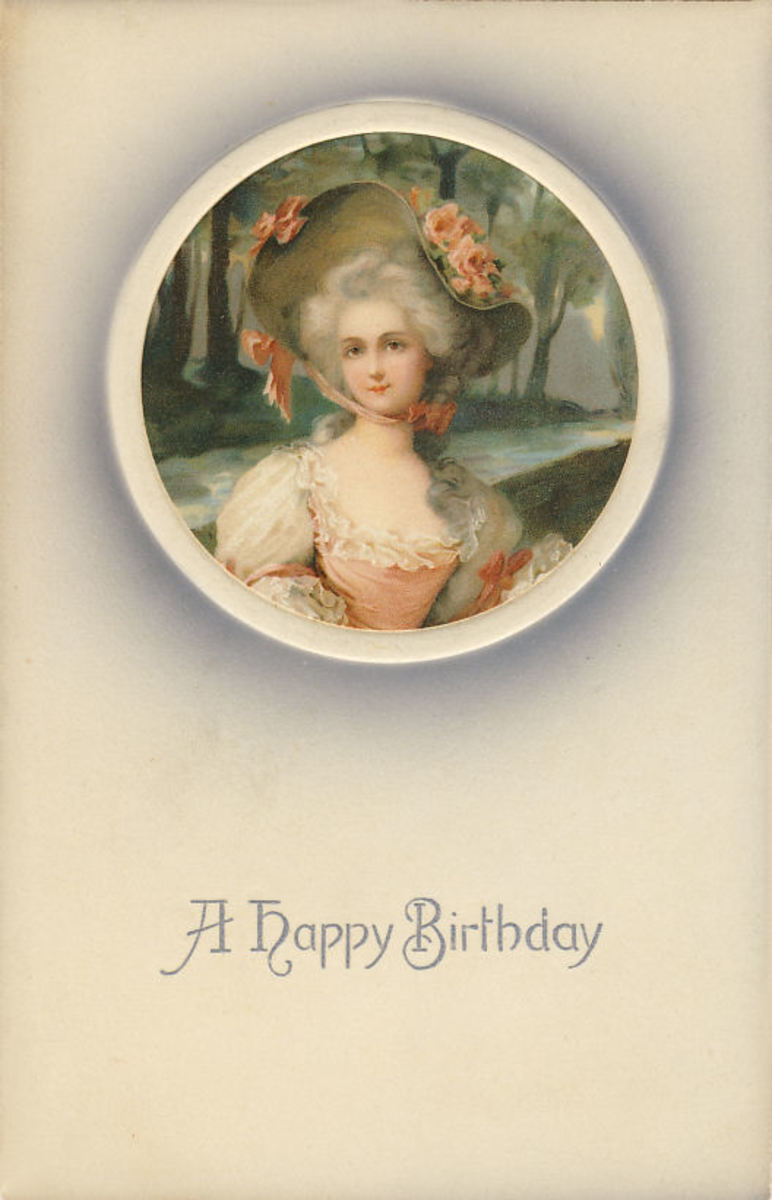 "This card was never sent to anyone, but has ""Printed in Germany"" and ""Meissner and Buch, Leipzig, Kunstler-Postkarten Serie 1557. Iris Serie, Miniaturen""Ges gesch."""