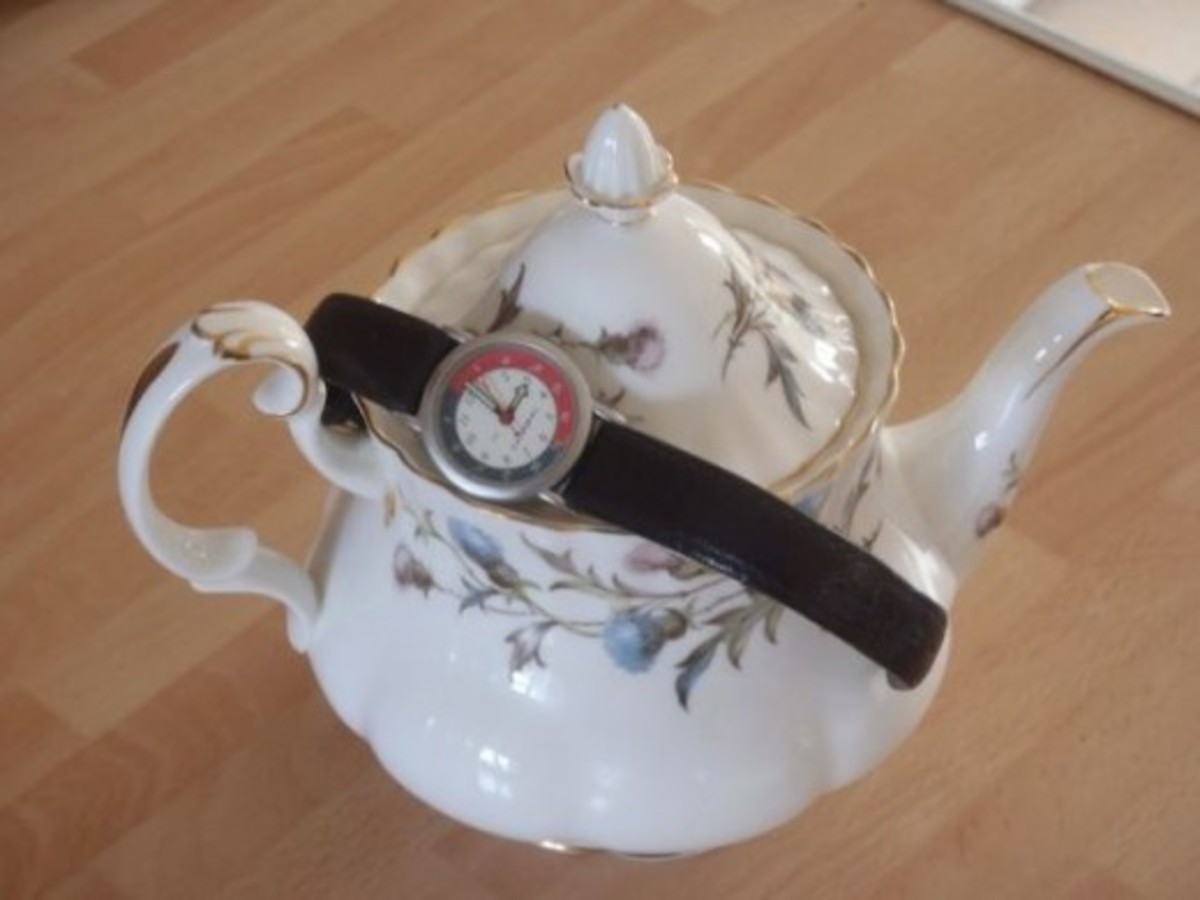 Tea pot with watch