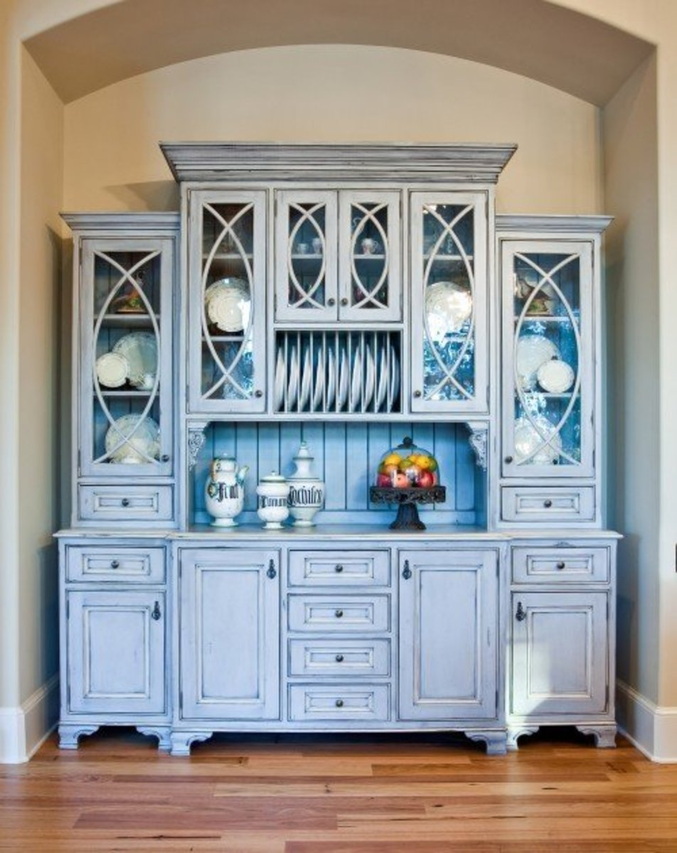 furniture quality blue kitchen cabinets with plate rack, glass cabinets carefully craft this Old World design
