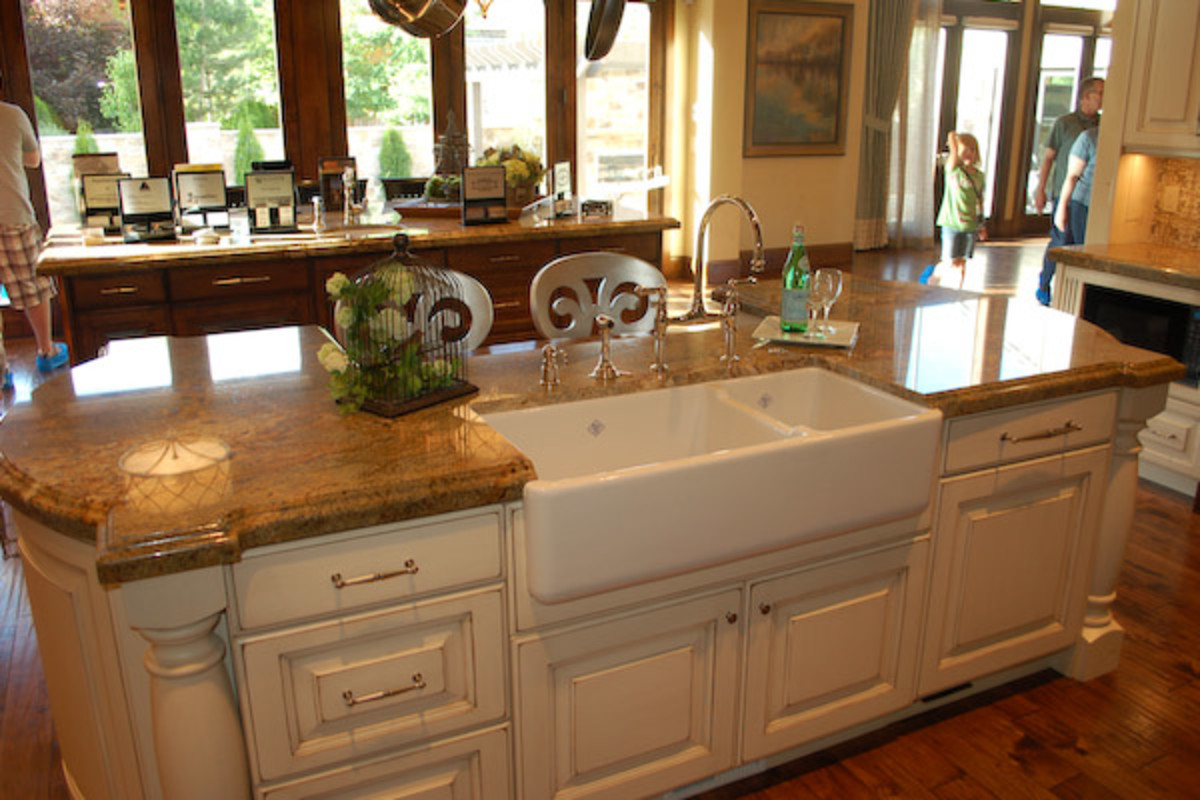 Old World Kitchen Marble Counter top Island, country sink and marble counter tops
