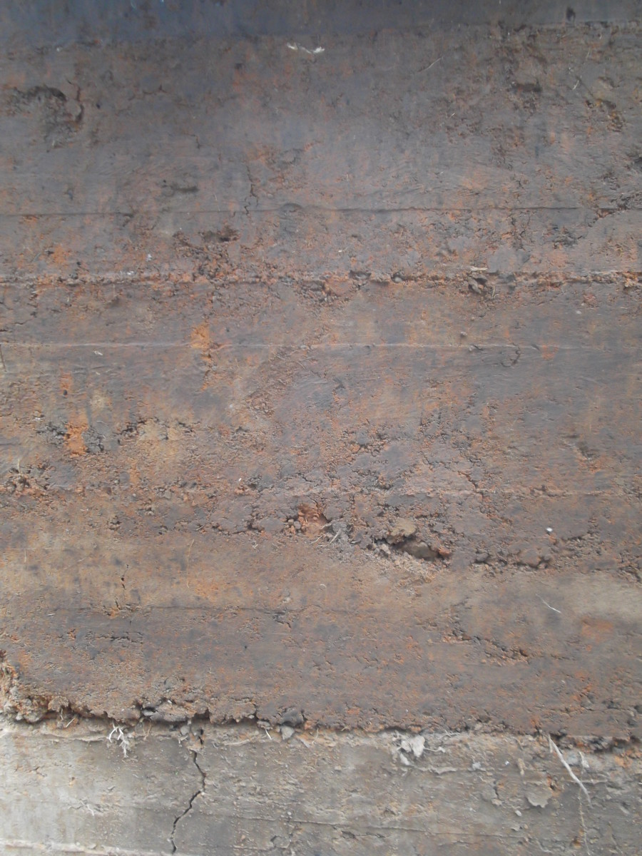 Our rammed earth wall, untouched. This is how it looks fresh from the frame. No additional smoothing or cosmetic improvements.