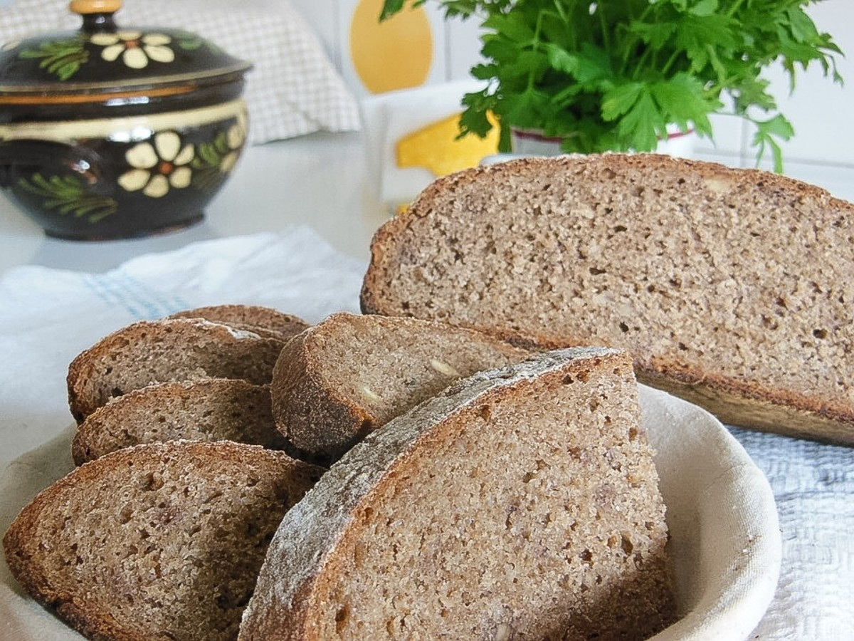 Slices of dark rye sourdough bread