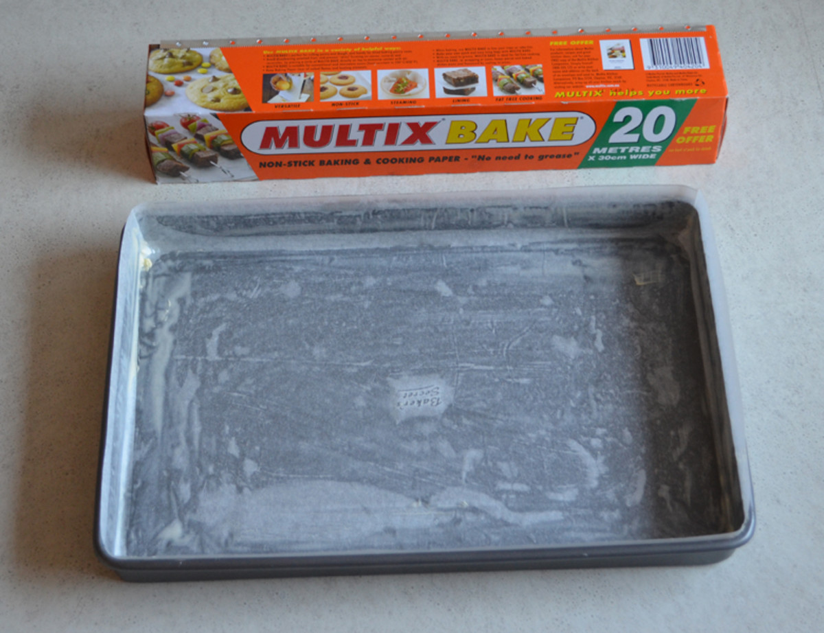 Lamington tray greased and lined