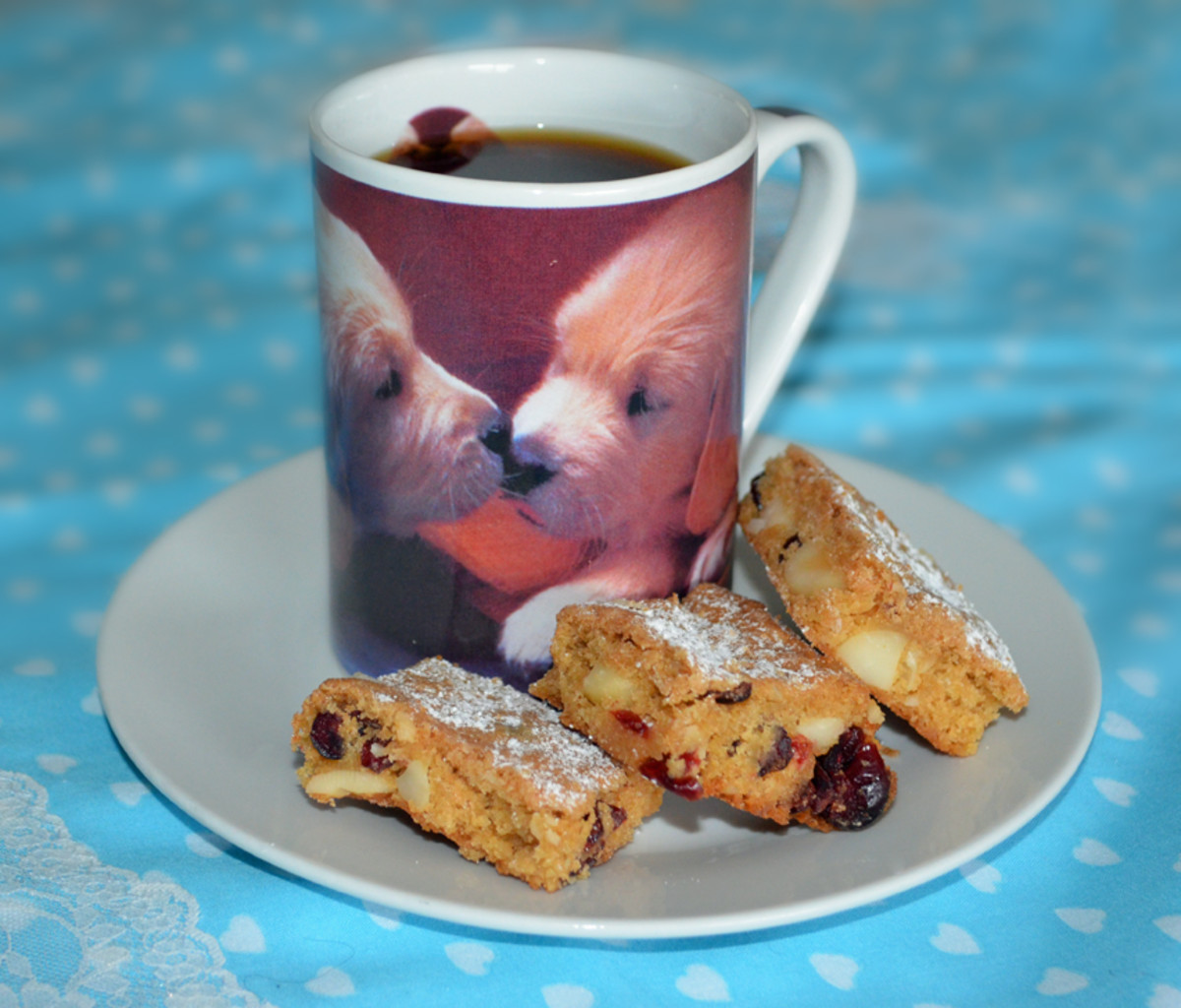 Macadamia and Cranberry Slices go very well with coffee!