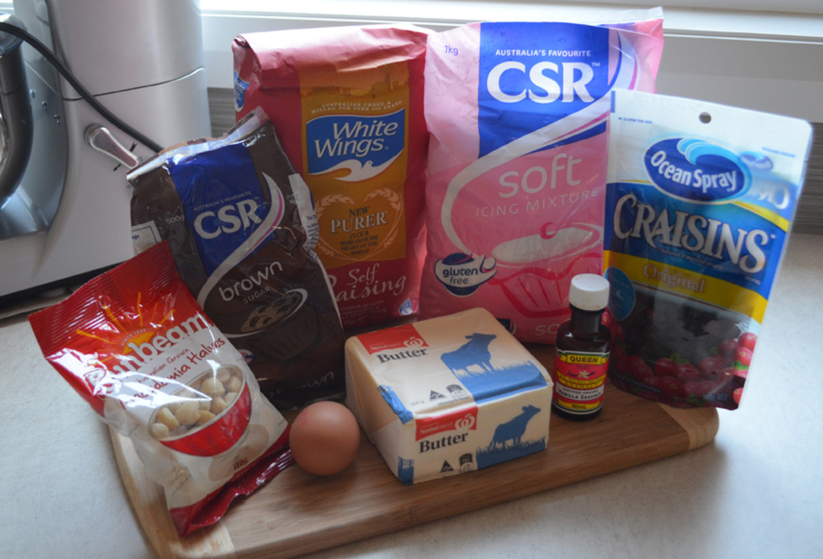 Macadamia and Cranberry Slice ingredients.