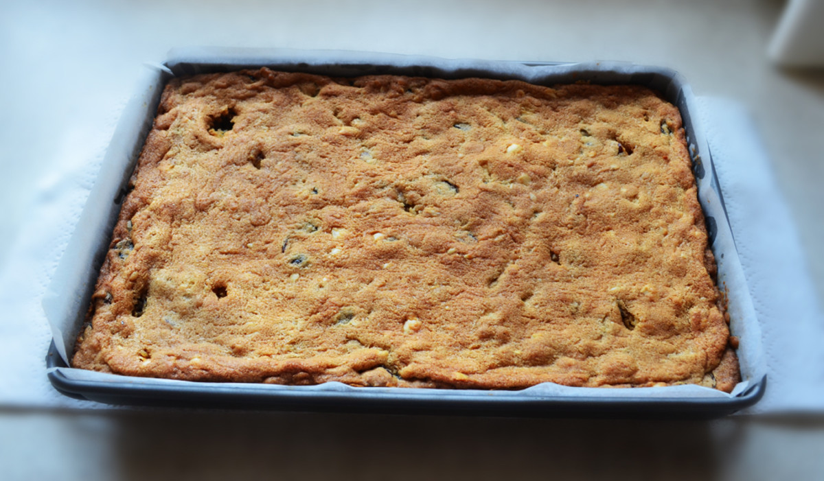 Macadamia and Cranberry Slice fresh from the oven. Mmm Mmm
