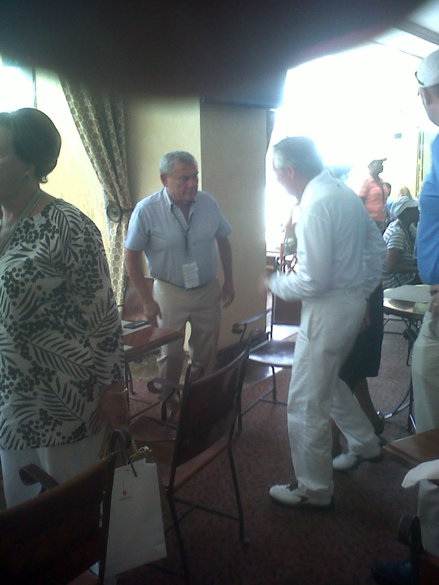 Sol Kerzner and Gary Player at the Gary Player Country Club enjoying a breakfast together before tee off time