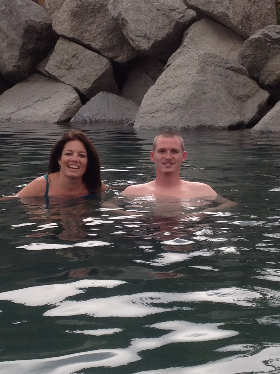 With my son in law enjoying some hot springs in cold Alaska.