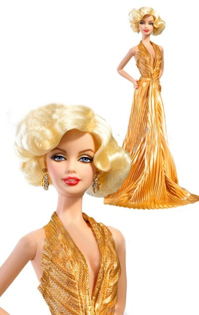 The iconic Marilyn Monroe barbie doll in Gold-lamé