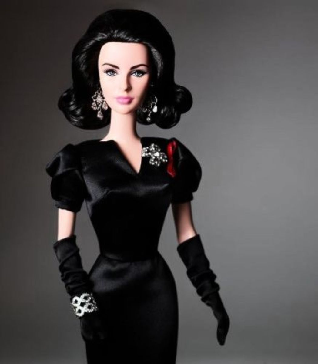 Elizabeth Taylor Barbie doll with her remarkable violet eyes