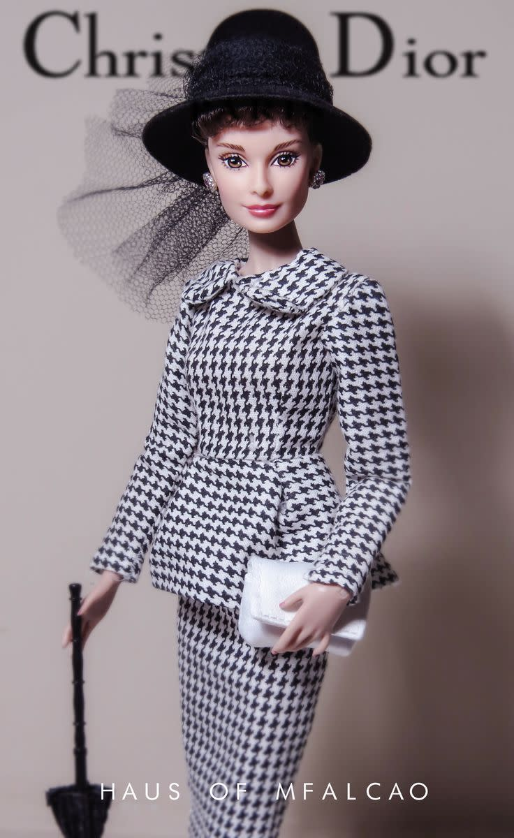 Audrey Hepburn barbie doll in Houndstoothplaid