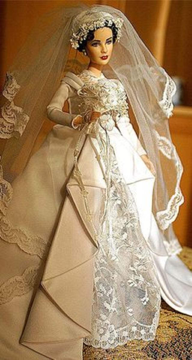 Elizabeth Taylor Barbie Doll in lace ladden bridal gown