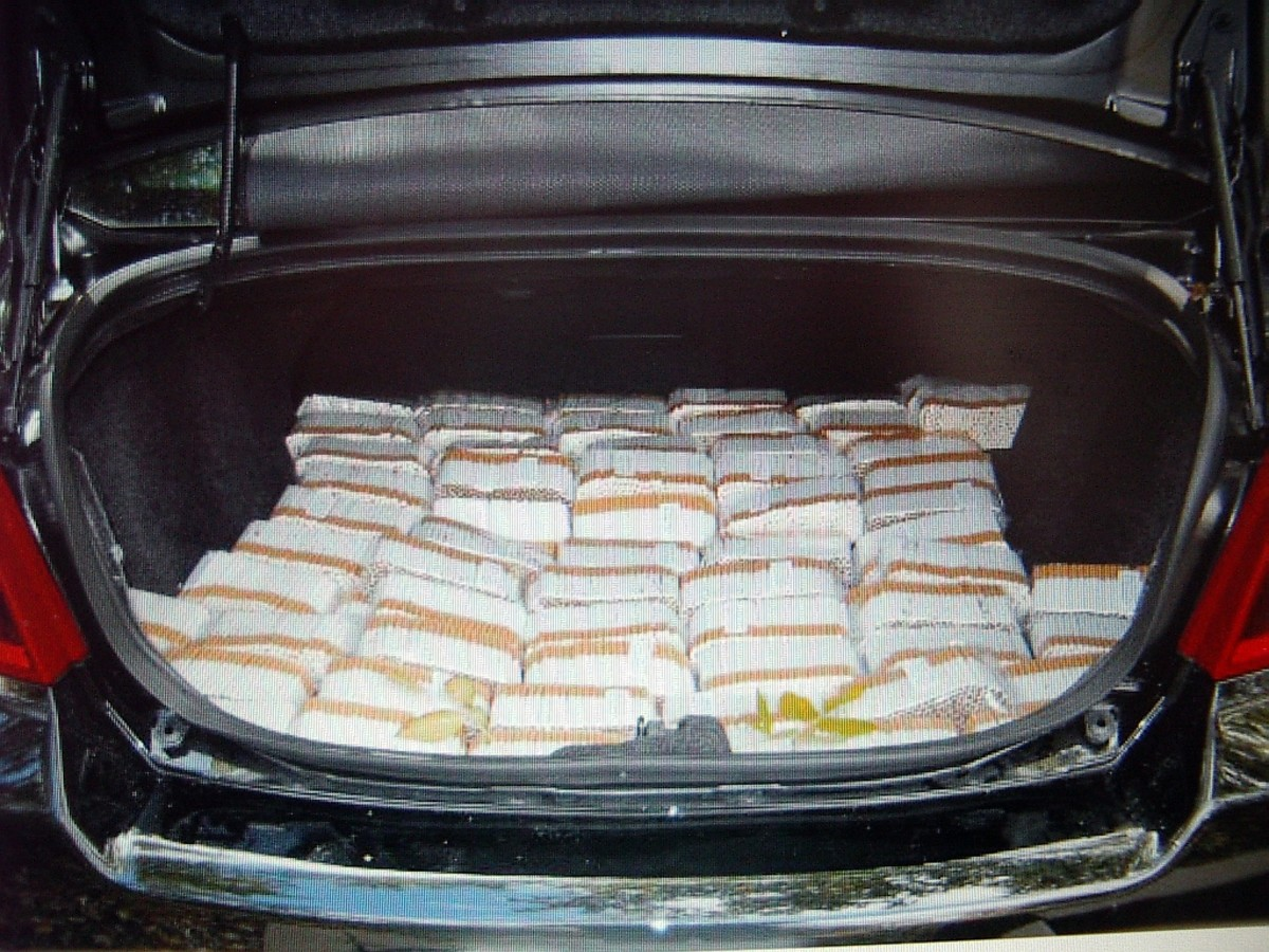 A trunk load of illegal cigarettes.