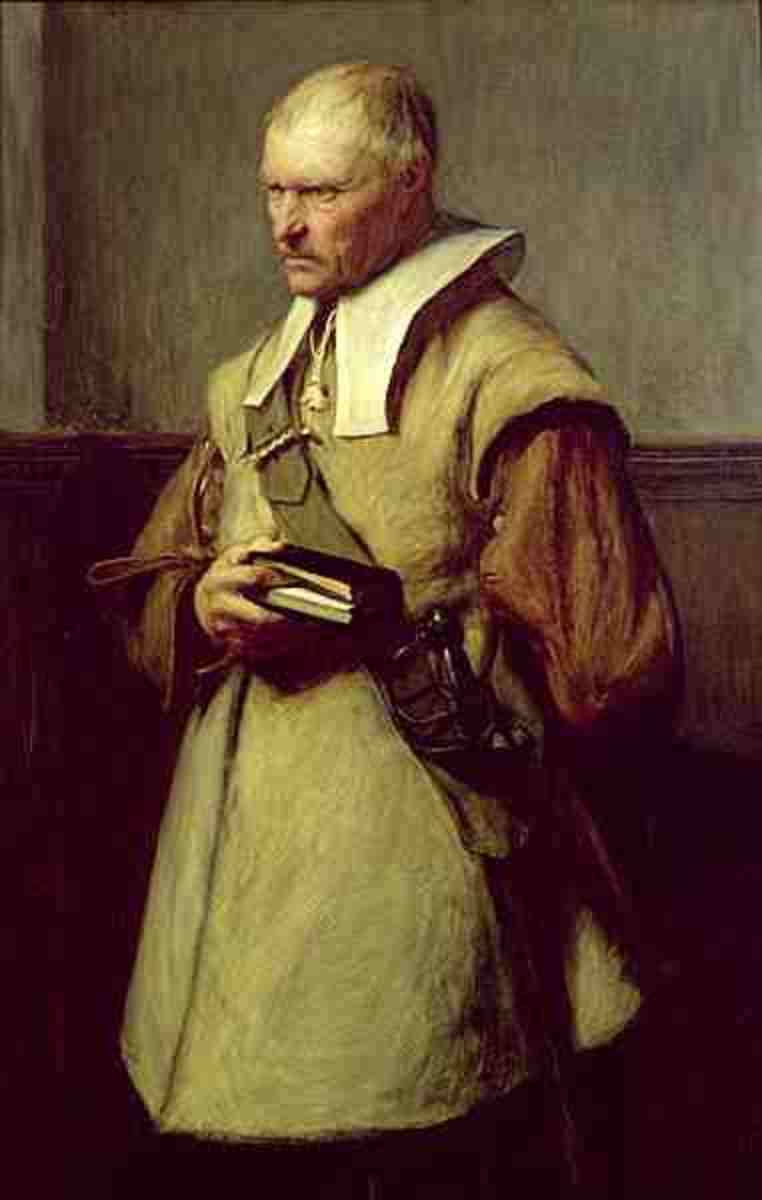 A Puritan man preparing for a sermon.