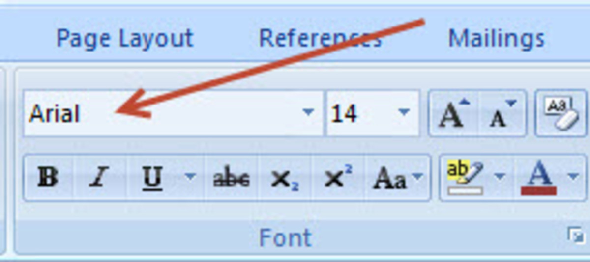Changing the font and the font size.
