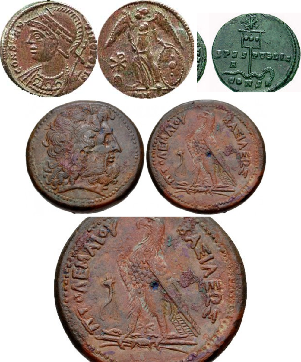 Top Left: Constantine I Constantinopolis, A Commemorative Coin with the Winged Victory (Satan?) and the Chi Rho sign. Top Left: Chi Rho. A coin of Constantine (c.337) showing a depiction of his labarum Middle: PTOLEMAIC KINGS of EGYPT. Ptolemy III Eu