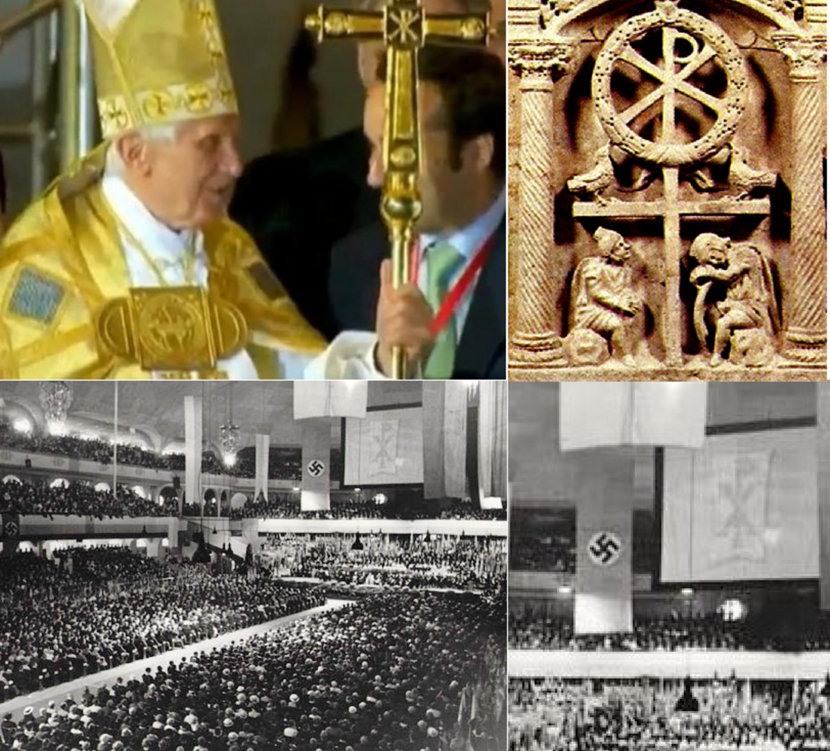 Pope Benedict with Chi Rho. Bottom: Welcome Celebration for Bishop Konrad Graf von Preysing in the Sportpalast, Berlin, 8 Sept 1935 Chi-Rho alongside the Nazi symbol.