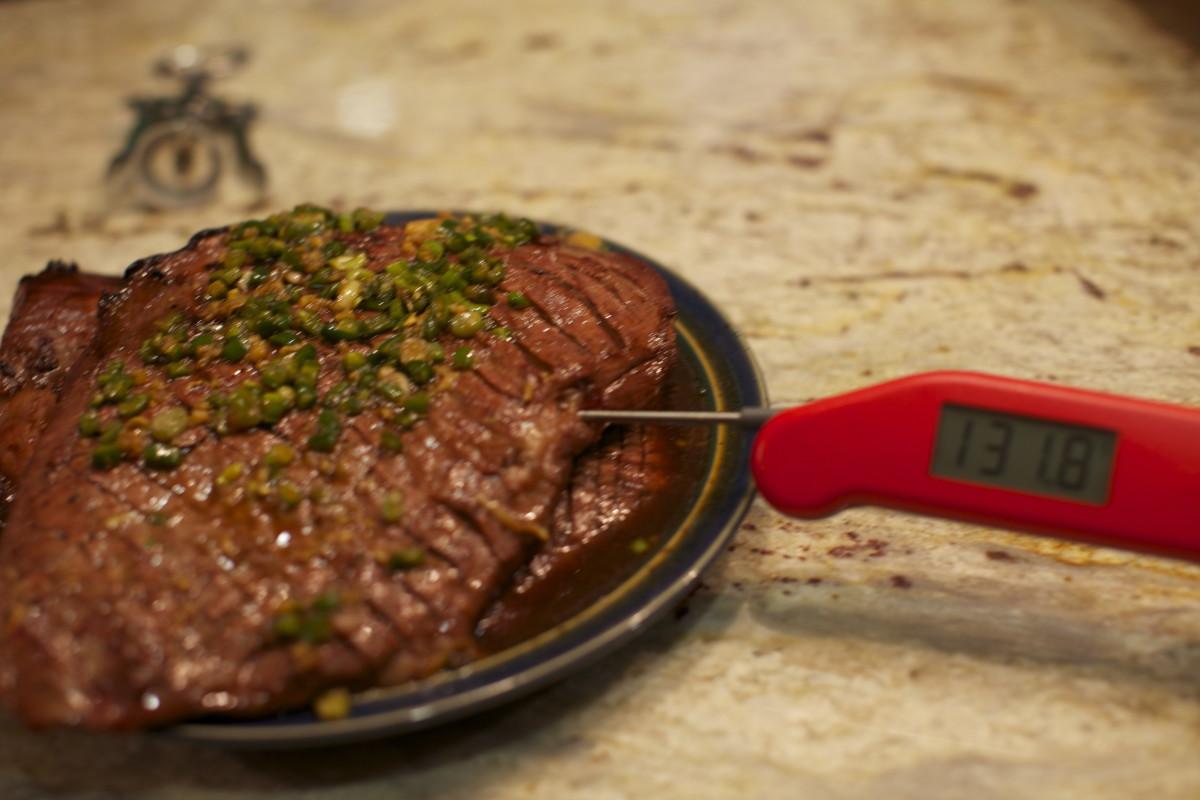 Medium-rare flank steak