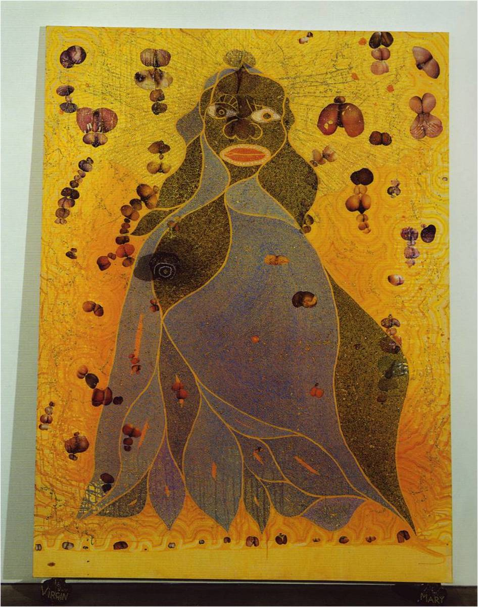 "Chris Ofili, ""The Holy Virgin Mary,"" 1996 (8 x 6 feet)"