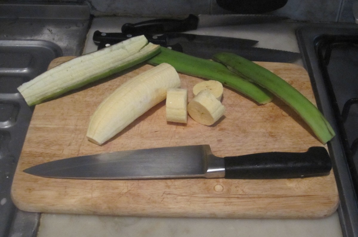 Peel and cut platano