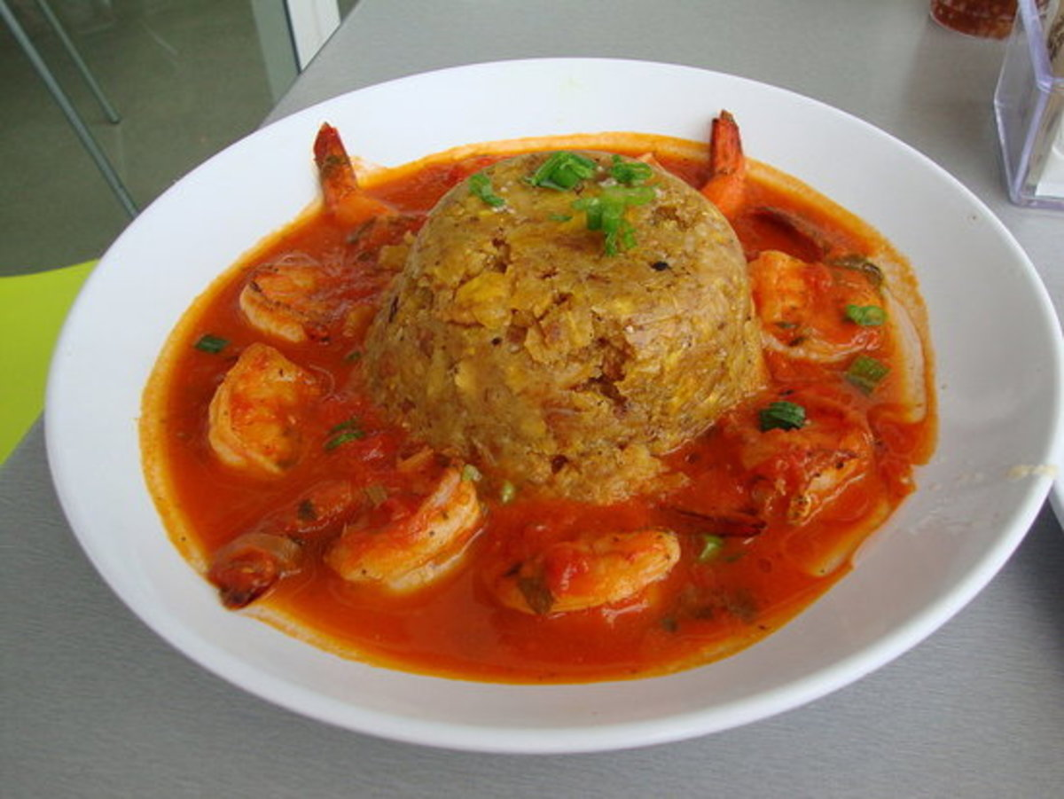 Mofongo served with a shrimp stew