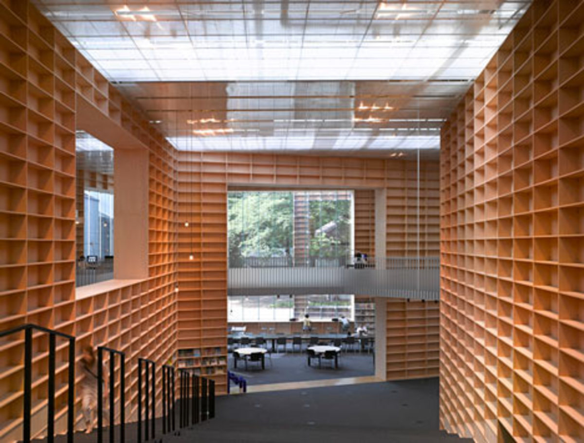 Library made of shelves, literally
