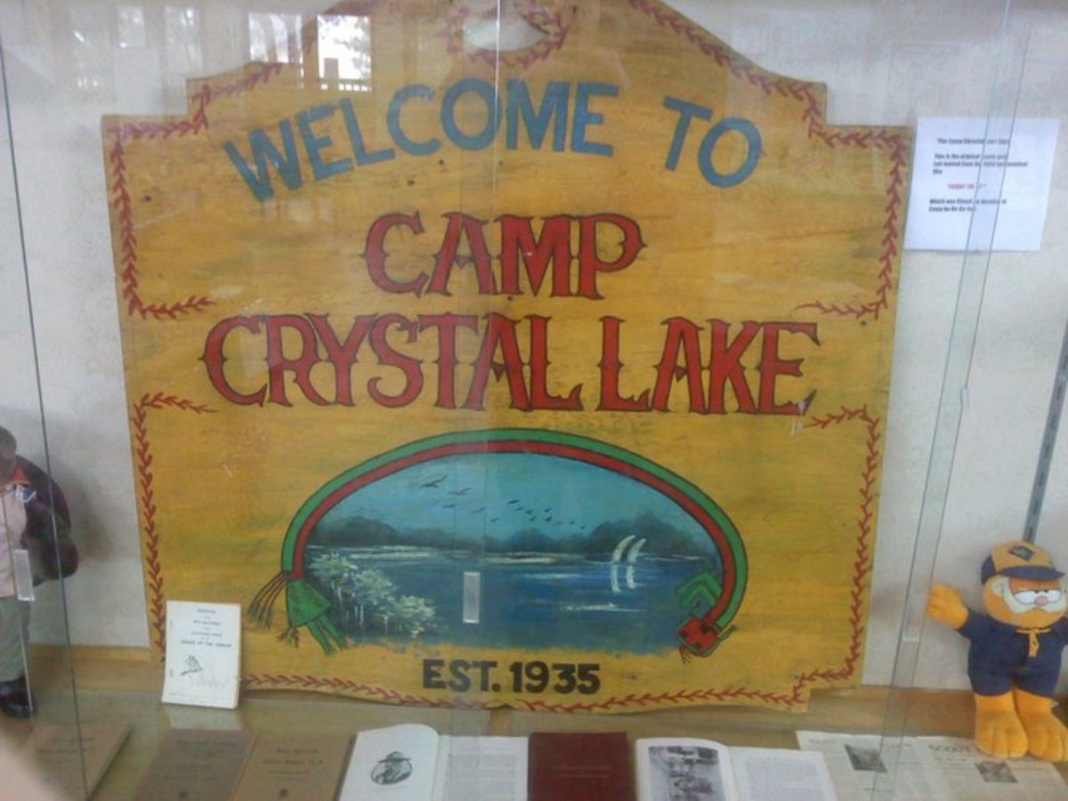 "The original ""Welcome to Camp Crystal Lake"" sign as seen in ""Friday the 13th,"" is in a display of vintage Scout memorabilia at the BSA's Northern New Jersey Council Center in Oakland, NJ. Photo taken by the author, in January 2011."